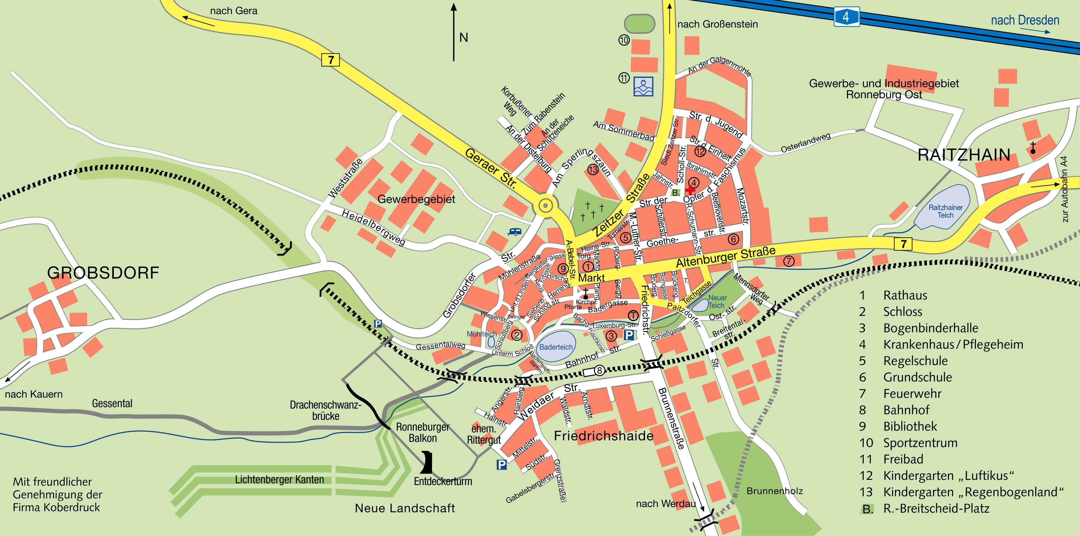 Stadtplan - Ronneburg / Thür.